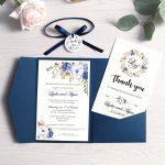 wedding invitation navy blue pocket