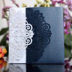 blue white elegant laser cut wedding card