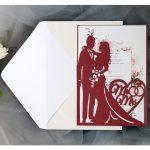bride and groom hollow laser cut wedding card