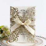 Glitter paper laser cut wedding card