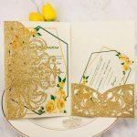 Folded wedding invitations cards