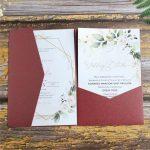 black wedding invitation card tri fold