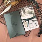 green traditional invitations