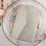 tri fold glitter pear wedding card