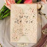 Rose gold glitter wedding card