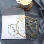 luxury square acrylic wedding invitation